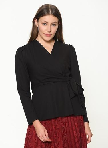 İroni Uzun Kollu Anvelop Bluz Siyah